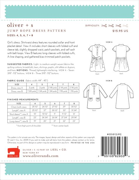 pattern review oliver s oliver s os012jr jump rope dress sewing pattern