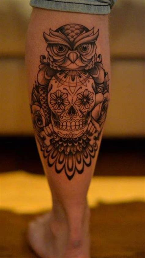 owl skull tattoo 12 calf designs you won t miss pretty designs
