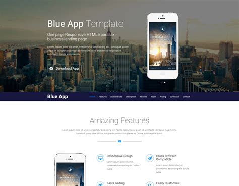 templates business html5 blue app template is a one page responsive html5 parallax