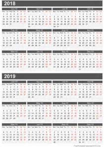 Calendar 2018 And 2019 Printable Free Printable Calendar 2018
