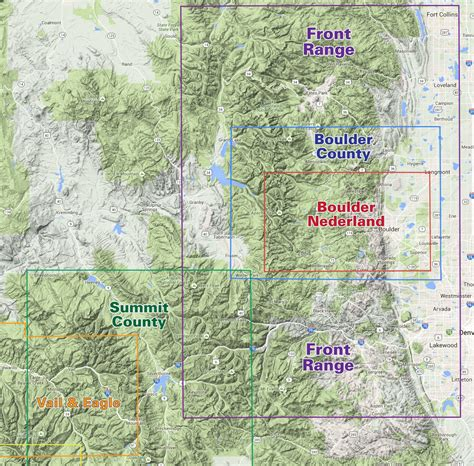 map of colorado front range front range trails colorado recreation topo map