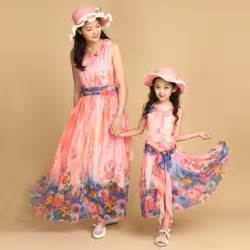 authentic 2015 mom and daughter dress with belt long maxi summer vacation dresses family beach