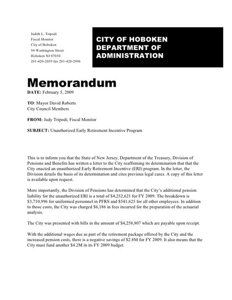 early retirement program memo 2 5 2009