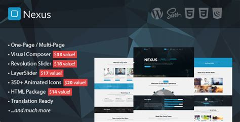 theme wordpress nexus nexus multi one page business wordpress theme by