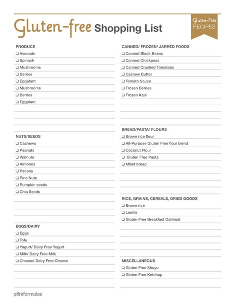 printable grocery list of gluten free foods gluten free foods list with best picture collections