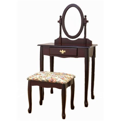 frenchi home furnishing rich cherry vanity set with
