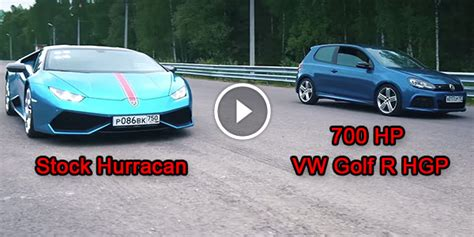 Vw Golf Vs Lamborghini 700 Hp Vw Golf R Hgp Thinks It Is Faster Than