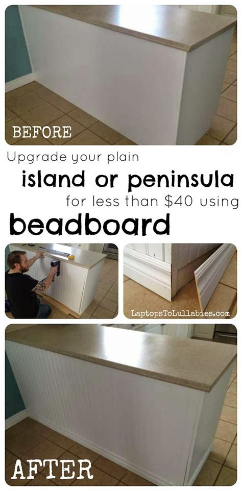 update a plain kitchen island or peninsula with planks and upgrading a plain kitchen peninsula or kitchen island