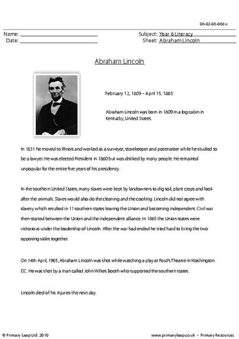 Abraham Lincoln Comprehension Worksheet by All Worksheets 187 Abraham Lincoln Worksheets Printable