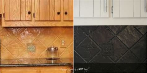older and wisor painting a tile backsplash and more easy my backsplash solution yep you can paint a tile