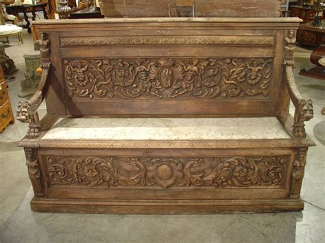french storage bench 19th century renaissance style carved french storage bench