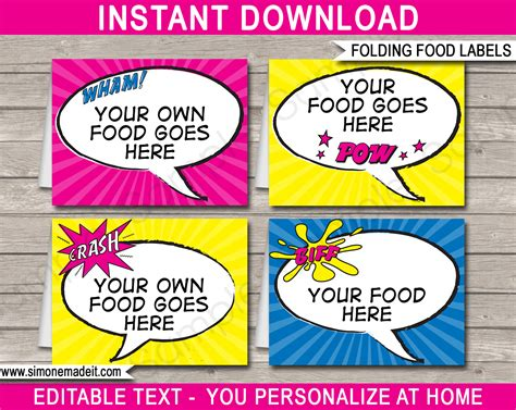 superhero party food labels place cards party