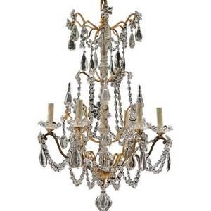Porcelain Chandelier Antique Antique 6 Light French Gilt Brass And Crystal Chandelier