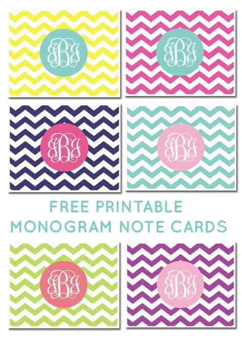 pinterest free printable note cards free printable monogram chevron note cards click to