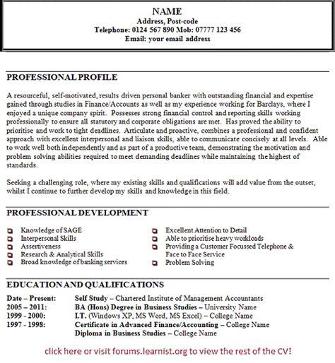 personal banker cv exle forums learnist org