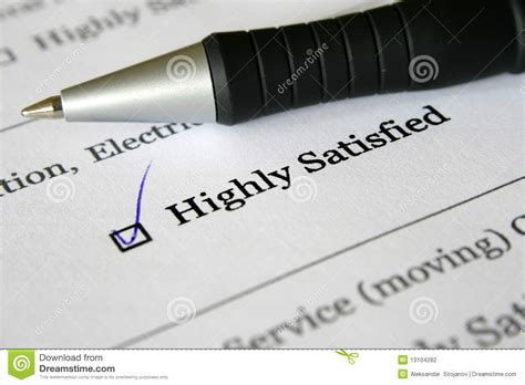 Fill Out A Survey - survey form highly satisfied stock photography image 13104282