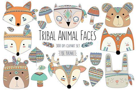 tribal clipart woodland tribal animals elements illustrations