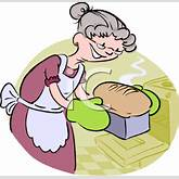 Cartoon of a Grandma Baking Bread - Royalty Free Clip Art Picture