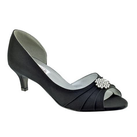 black satin low heel evening and prom shoes