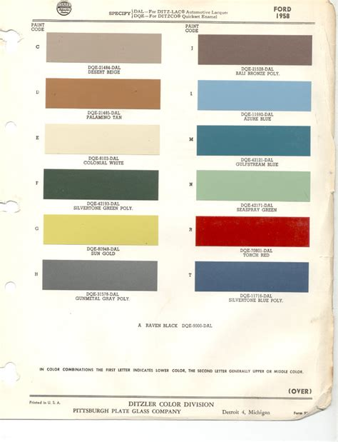 paint chips 1958 ford thunderbird color palettes paint chips ford thunderbird