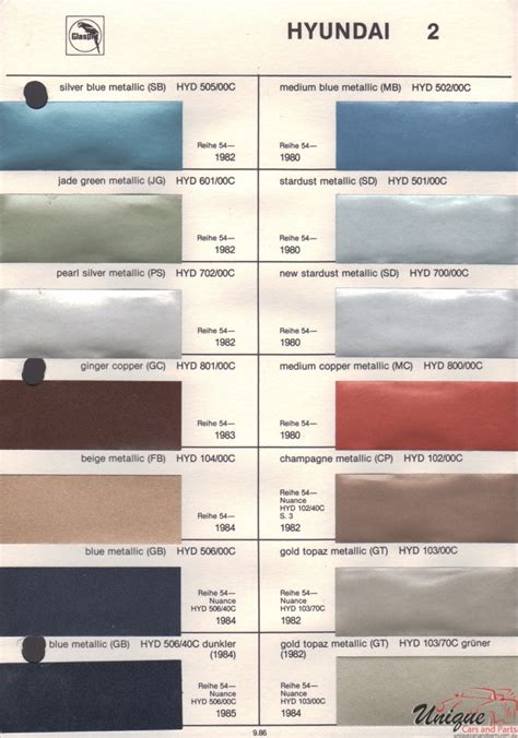 hyundai paint chart color reference