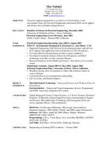 entry level mechanical engineering resume sle electrical engineering cv sle