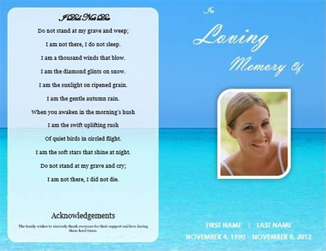 single fold beach funeral program template for download