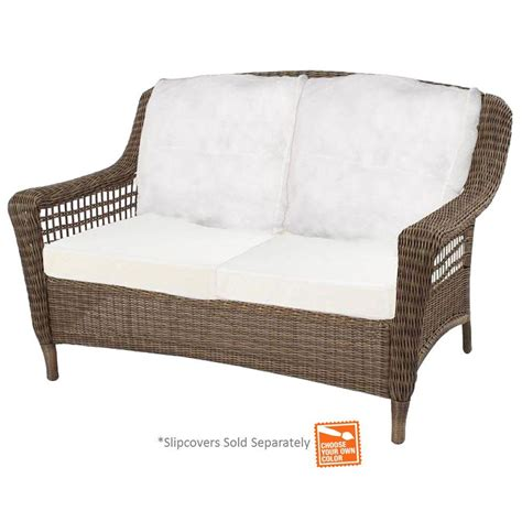 Hton Bay Spring Haven Grey Wicker Patio Loveseat With Patio Furniture Inserts