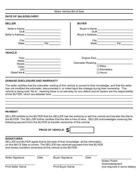 motor vehicle form template motor vehicle bill of sale template free