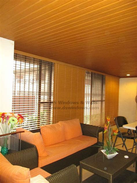 Cedar Foam Wood Blinds With Ceiling Plank Living Room Philippines Ceiling Design