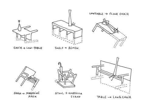 sketch book graphic designer sinking about furniture nendo