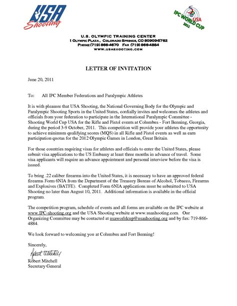 Invitation Letter Sle To Ambassador Invitation Letter To Usa Sle Invitation Letter For