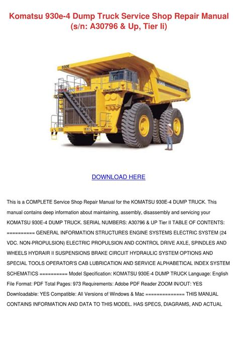 Komatsu 930e 4 Dump Truck Service Shop Repair By