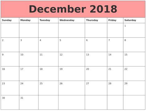 Calendars That Work December 2018 Calendars That Work