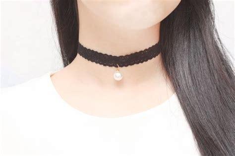 Black Pearl Lace Chocker 8211 black lace choker white pearl choker womens choker