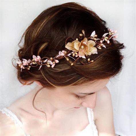 a gold sprayed flower crown wedding hairstyles photos bridal headband pink and gold wedding hair accessories