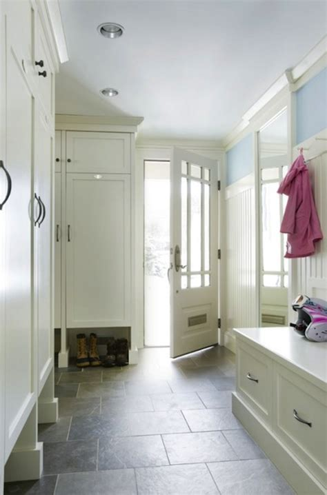 floating mudroom bench transitional laundry room