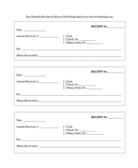 printable receipt form printable cash receipt form sle