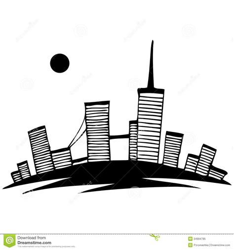 white silhouette black and white silhouette of city vector simple royalty