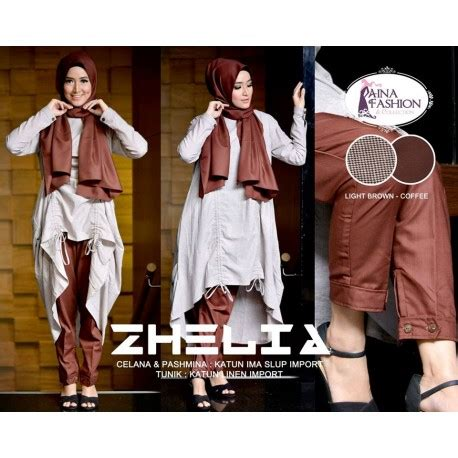 Tunik Linen Import zhelia l brown coffee baju muslim gamis modern