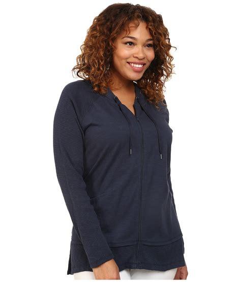 Hoodie Zipper Dkny dkny plus size zip front hoodie in blue lyst