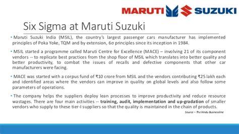 Maruti Suzuki Vendors List Six Sigma In Automobile Industry