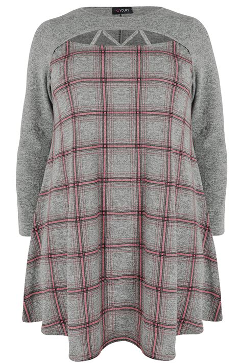 check swing rule grey pink checked longline swing top with cut out