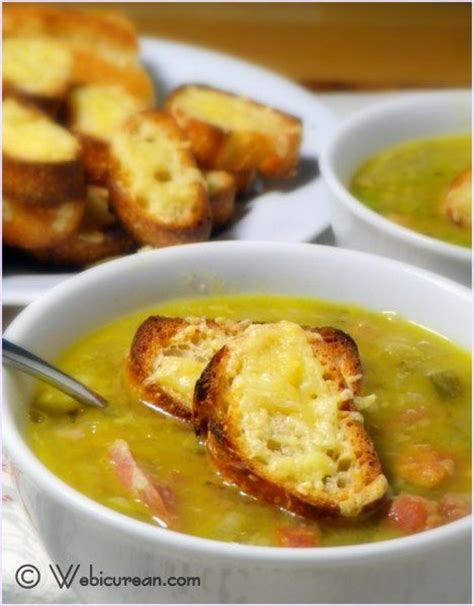 award winning split pea soup with gouda crostini webicurean