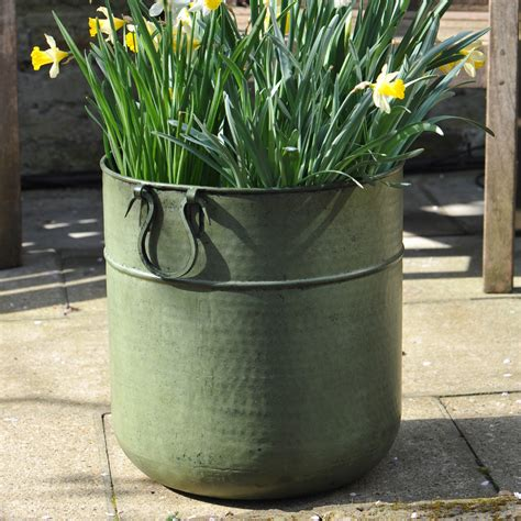 buy planters buy verdigris tall metal planter delivery by waitrose