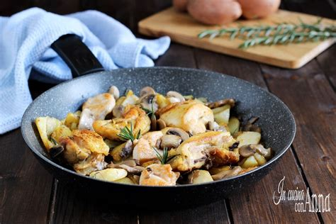 come cucinare il pollo in padella pollo con patate e funghi in padella