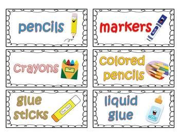 printable labels for kindergarten classroom classroom supply labels for primary teachers with picture
