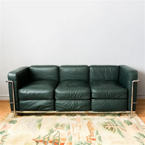 le corbusier lc green leather sofa