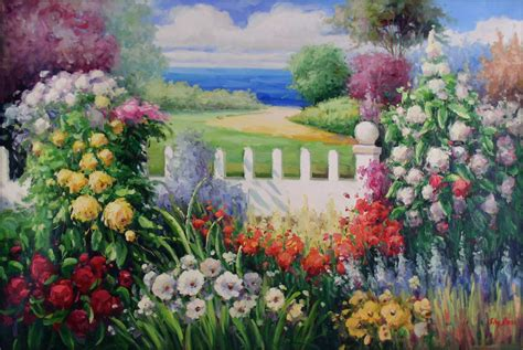 Flower Garden Painting Quality Painted Painting Seaside Flowering Garden 24x36in Ebay
