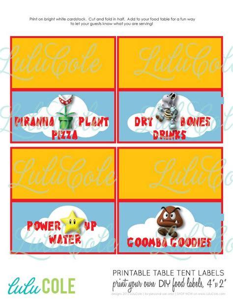 printable nes labels super mario diy printable table tent food labels